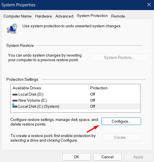 Create Restore Point in Windows 11 - Configure