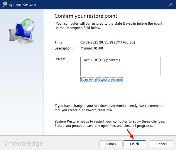 Create Restore Point in Windows 11 - Finish restoring PC