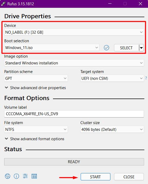 Create Windows 11 ISO bootable via Rufus