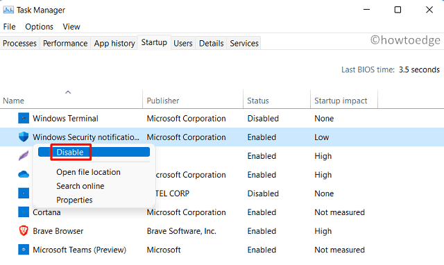 Disable Startup Programs in Windows 11 - Task Manager