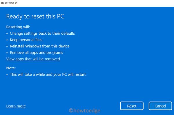 Repair Windows 11 OS - Reset