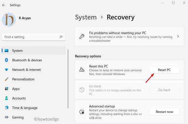 Repair Windows 11 - Reset PC