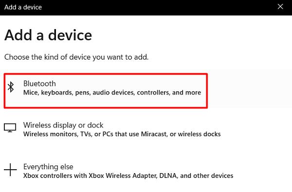 Select the Bluetooth option