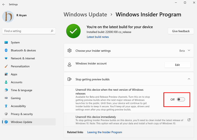 Switch from Dev Channel to Beta on Windows 11