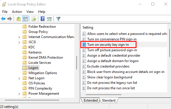 Turn on convenience PIN Sign-in policy to fix 0x80090016