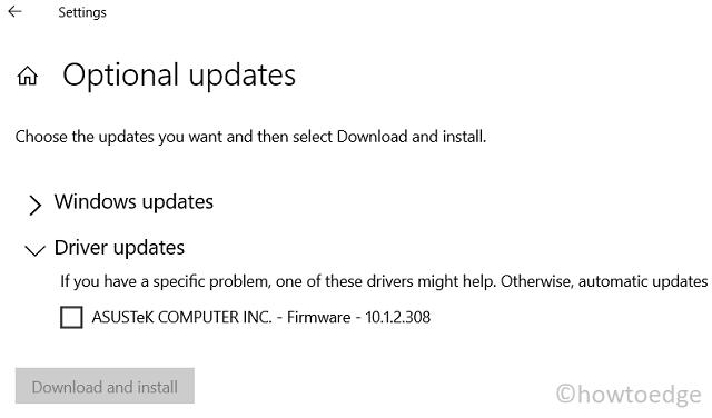 Update Drivers in Windows 11 via Optional Updates