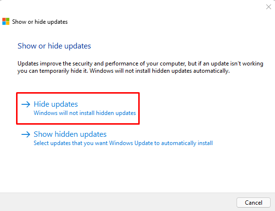 Use Show or Hide Updates Troubleshooter