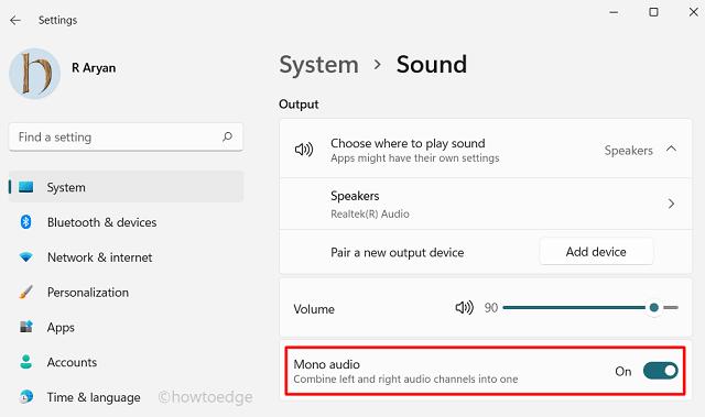 Windows 11 - Enable Mono Audio