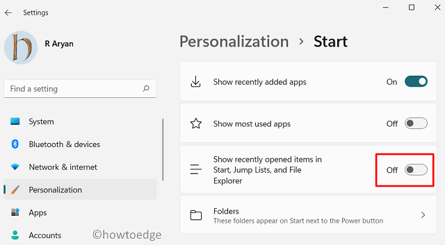 disable Start Menu recommended section