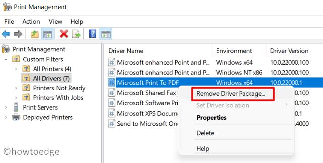 remove Printer driver on Windows 11 - Print Management