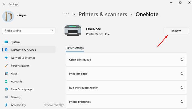 remove Printer driver on Windows 11 - Settings