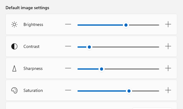 Adjust Webcam Brightness in Windows 11 using Settings app