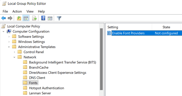 Block New Fonts from downloading in Windows - Edit group Policy