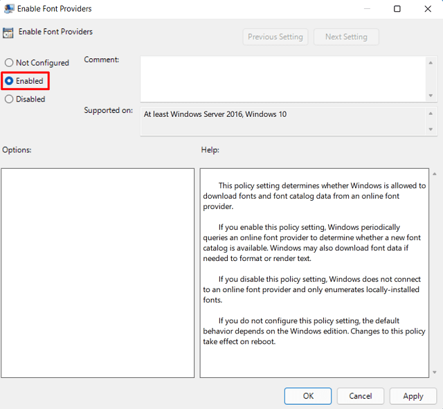 Block New Fonts from downloading in Windows - Enable Fonts Policy