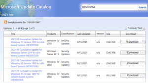 KB5005568 Windows 10 1809