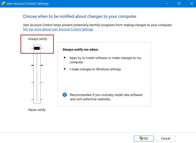 Windows 11 Update Failing on Error Code 0x8007007f - Edit UAC