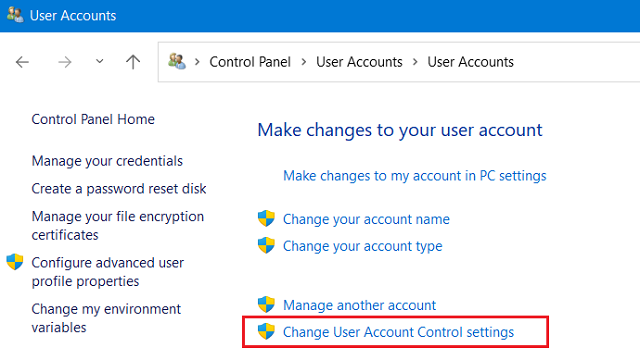 Windows 11 Update Failing on Error Code 0x8007007f - Modify UAC