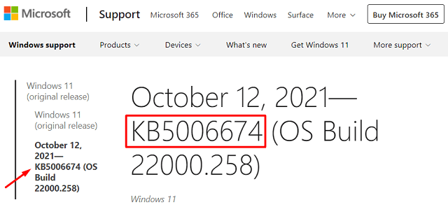 Windows 11 Update History page